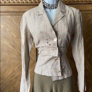 Livana Conti tan houndstooth Asymmetrical blazer